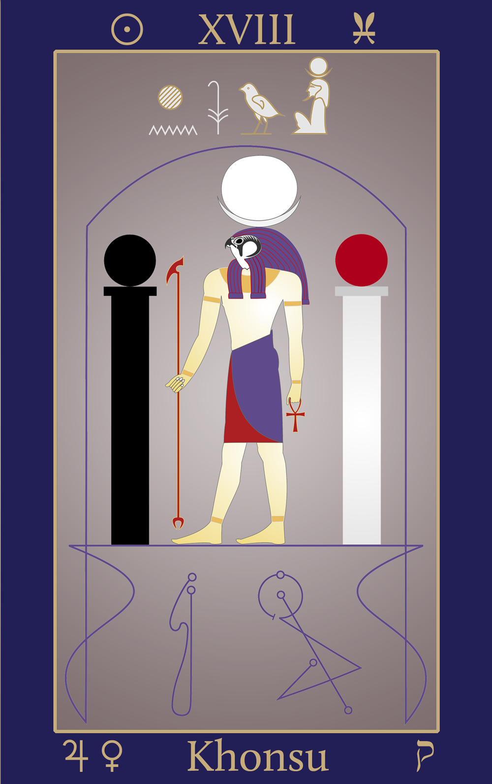 Egyptian Tarot of Thelema Khonsu XVIII