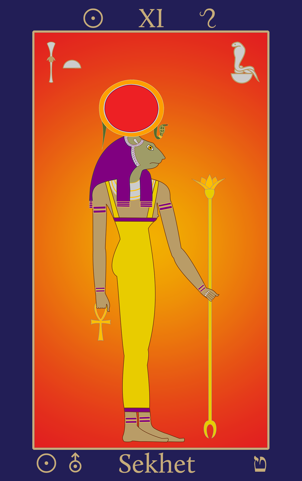 Leo the Lion of Summer: Egyptian Tarot of Thelema Sekhet XI